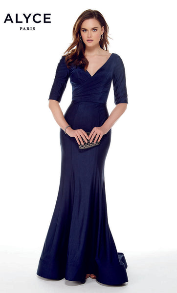 Alyce 27016-S19 Three Quarter length sleeve slinky stretch dress