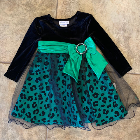 Bonnie Jean Green Leopard Dress