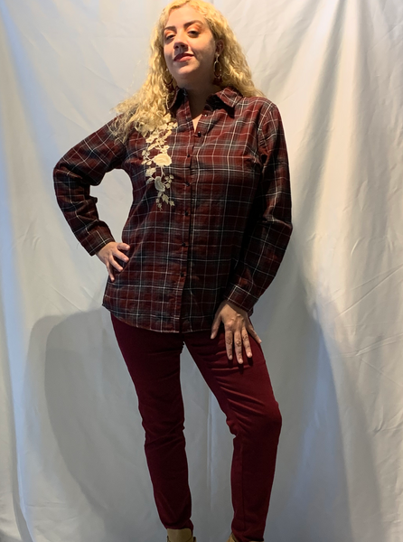 Plaid Button Up Embroidery Top