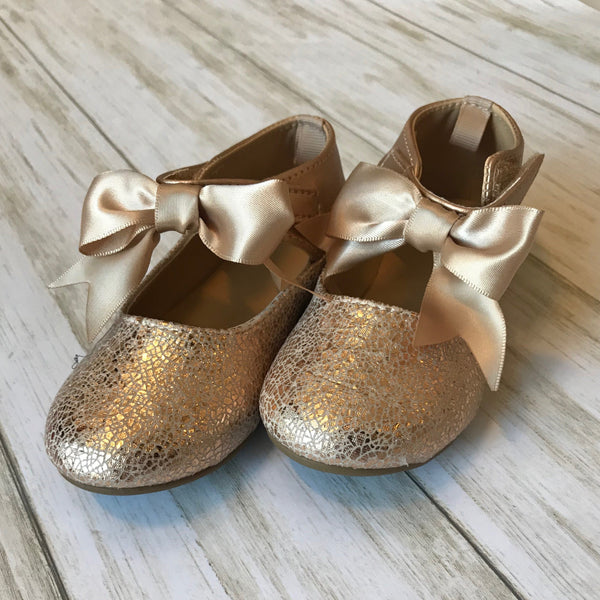 Baby Deer Metallic Bow Top Baby Shoe -Walking Shoes
