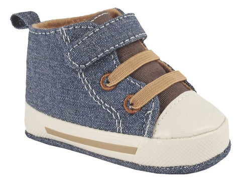 Infant Denim Canvas High Top Sneaker with Soft Soles
