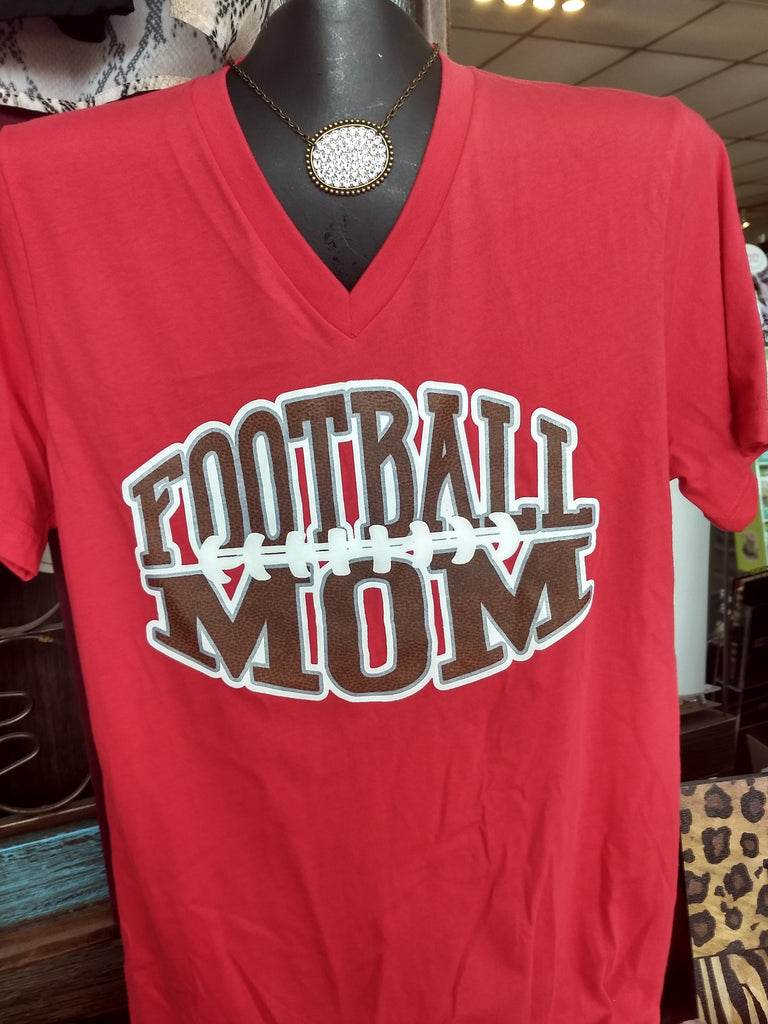 Football Mom V-Neck T-shirt