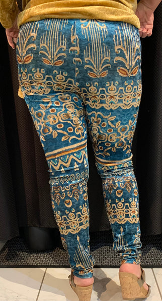 Printed Stretch Velvet Leggings