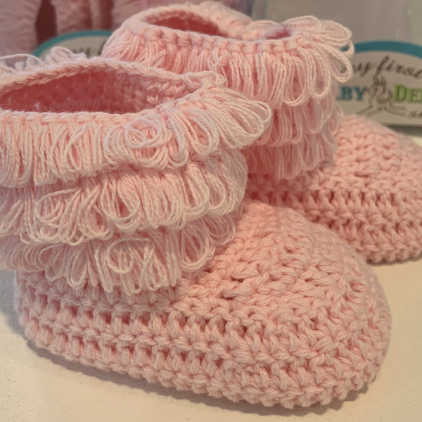 Baby Deer Pink Crochet Fringe Infant Shoes
