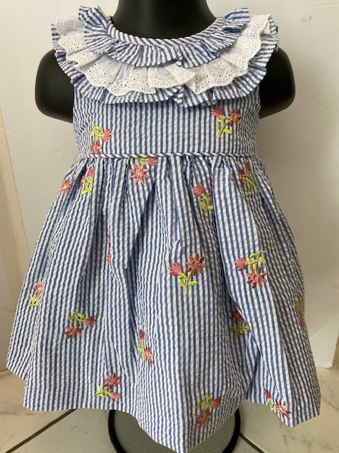 Pinstripe Seersucker and Eyelet Lace Dress with Floral Embroidery & Pinstripe Bloomers