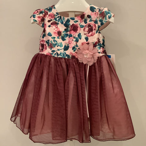 Bonnie Baby Burgundy & Turquoise dress with bloomer