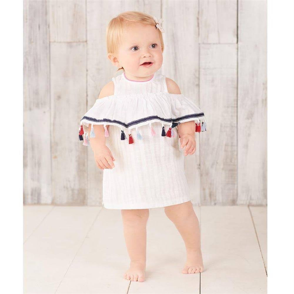 Mud pie 2pc with tassels white bloomers
