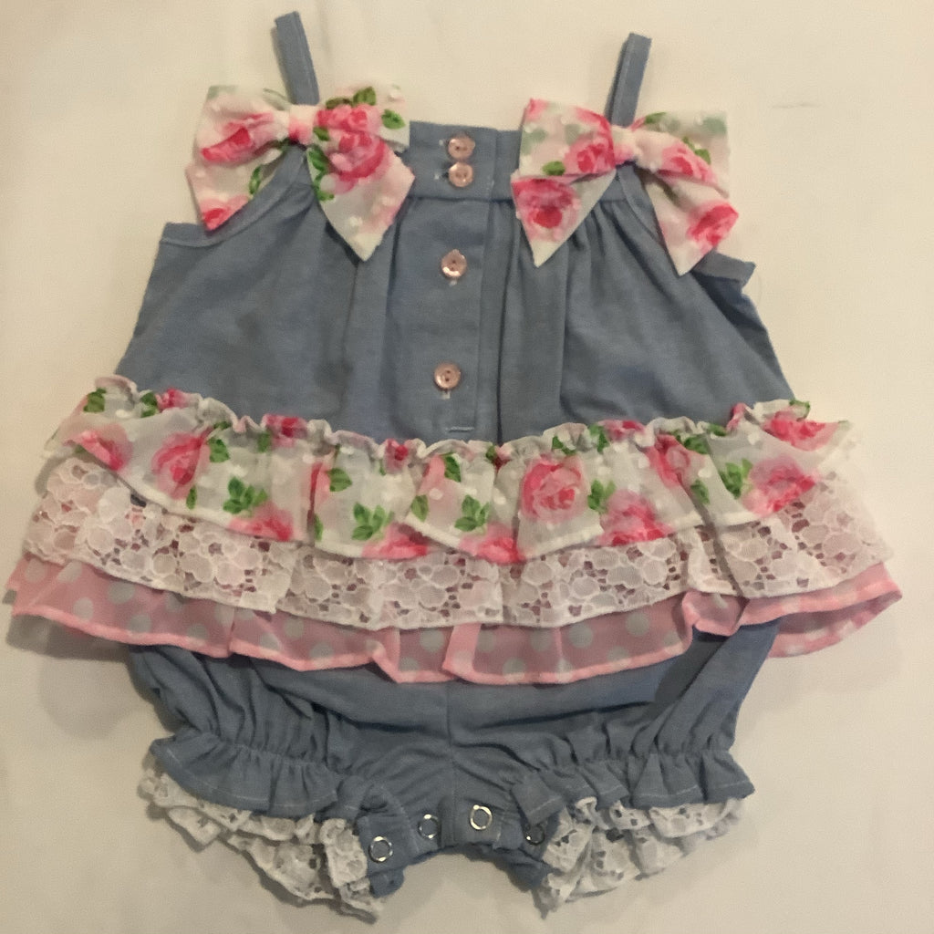 Bonnie Baby denim with pink roses