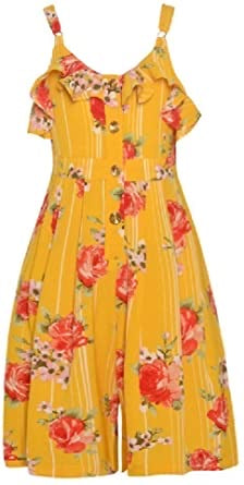 Bonnie Jean yellow romper with flowers