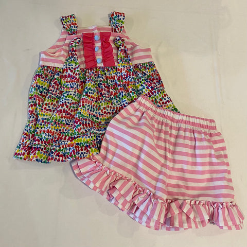 Millie Jay 2PC Multi Color W/ Pink & White Strip