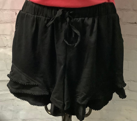 Black shorts draw string with ruffle