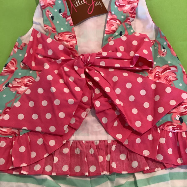 Floral Flamingo Bow Bloomer Set Infant
