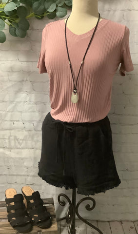Dusty Pink V-neck Ribbed Top
