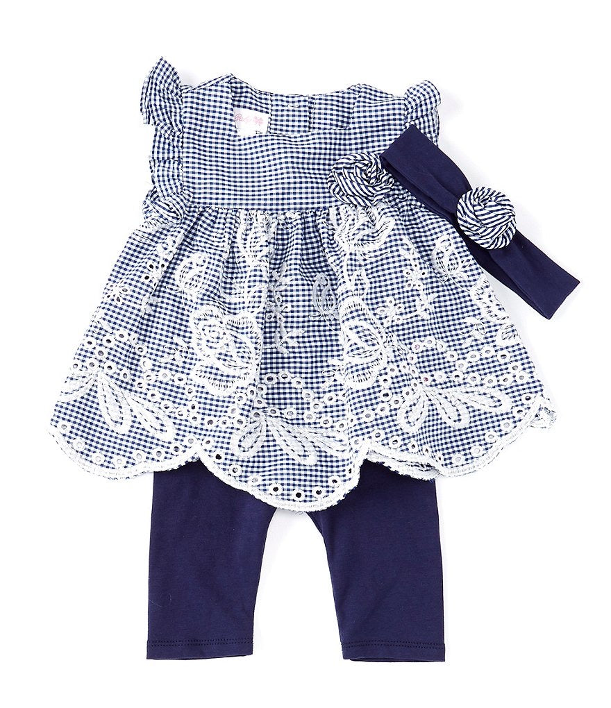 Bonnie baby blue and white gingham 3pc