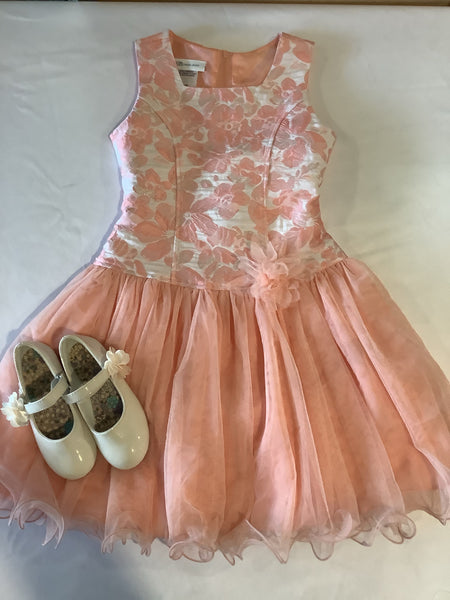 Bonnie Jean Peach Flowers and Tulle Dress
