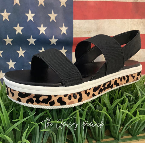 Mini Mia Black & Leopard Sandal
