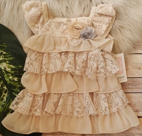 Bonnie Jean beige lace and sheer layered dress
