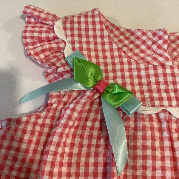 Bonnie Jean Hot pink and white gingham dress with bird