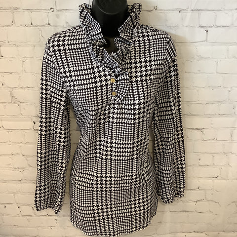 Mud Pie Black & White Hounds Tooth Top