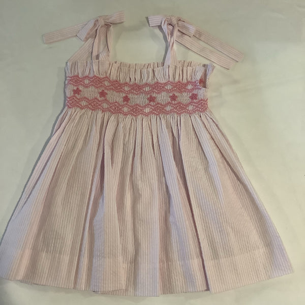 Three Sisters smocked pink seersucker Dress