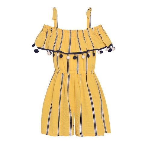 Bonnie Jean yellow and blue Romper with tassels