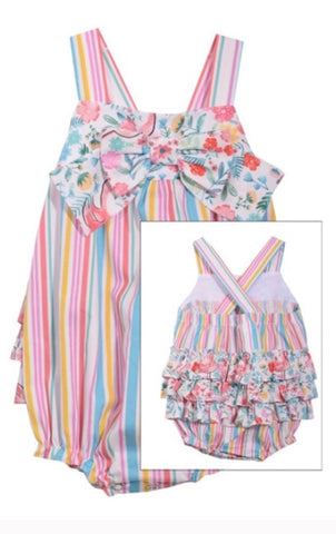 Bonnie baby striped floral romper