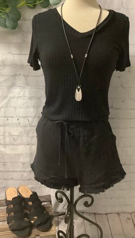 Black V-neck Ribbed Top