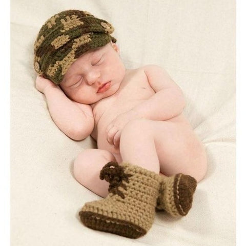 Mud pie crocheted camouflage set