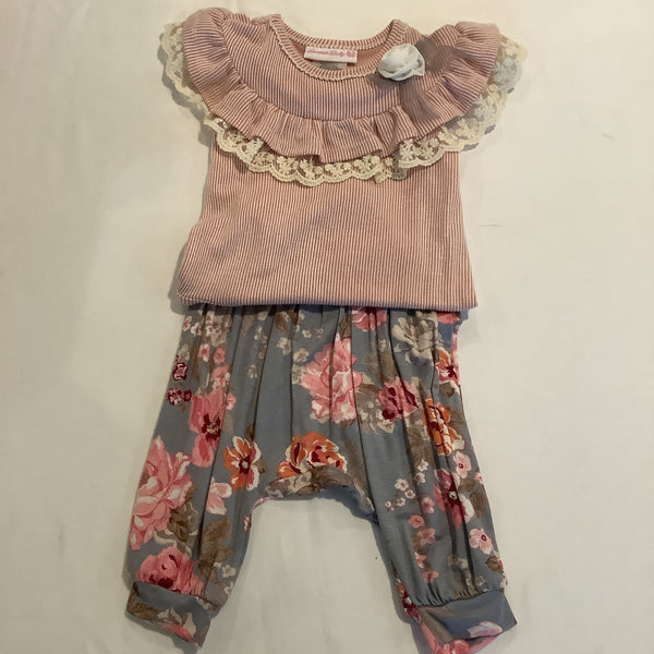 Bonnie Baby 2 PC Striped Top with flower pant