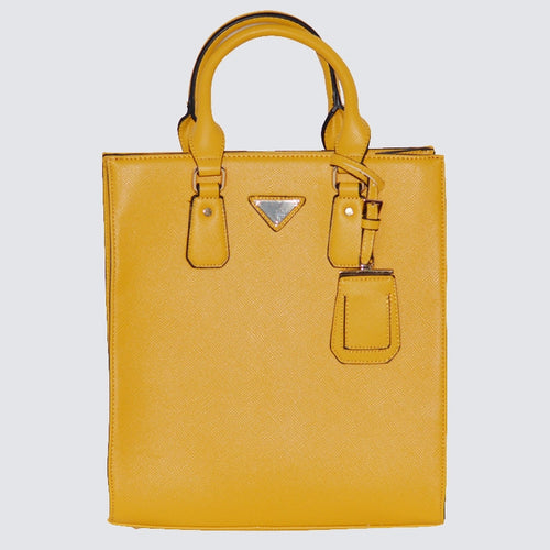 Structured Satchel Yellow Handbag