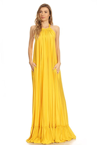 Halter Ruffle Extreme Maxi Dress