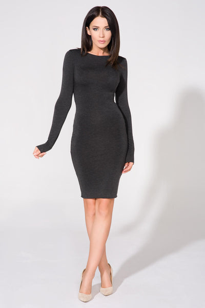 Dark Grey Scoop Back Long Sleeve Bodycon Midi Dress