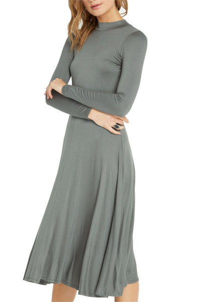 Long Sleeve Keyhole Flare Midi Dress