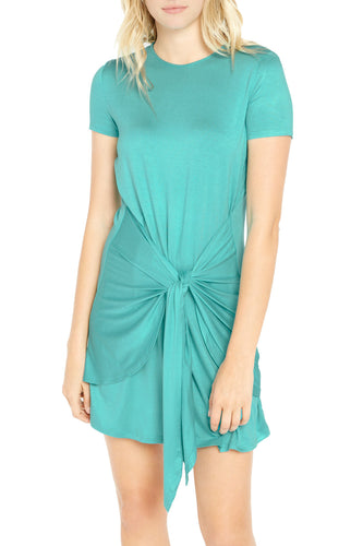 Short Sleeve Tie Front Mini Dress