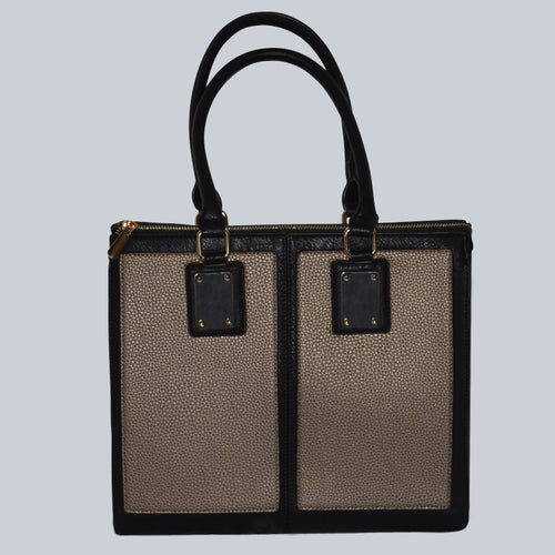 Two-Toned Structured Satchel Bag