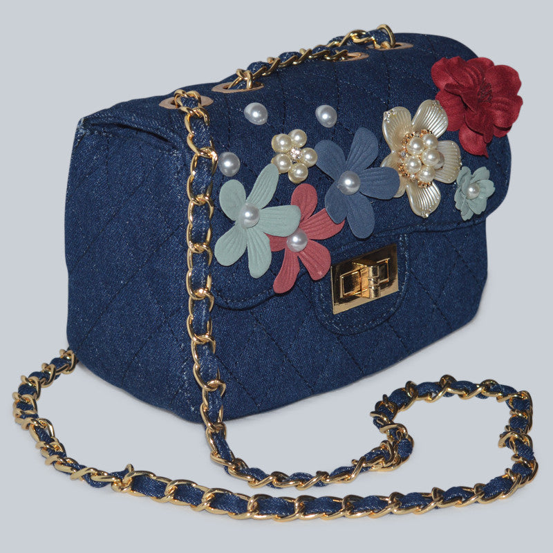 Pearl Flower Embellished Quilted Denim Shoulder Bag