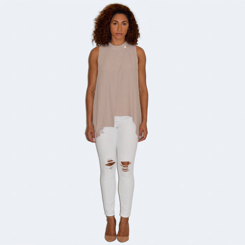 Sleeveless Top with Overlap Front
