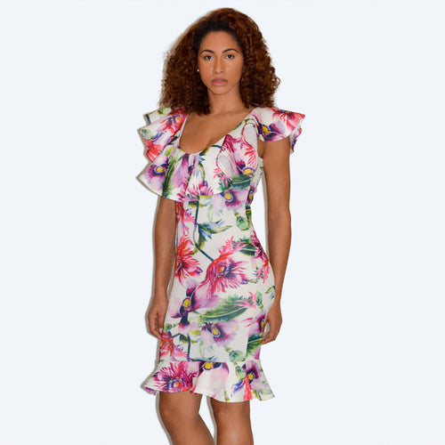 Floral Ruffle Print Scuba Bodycon Midi Dress