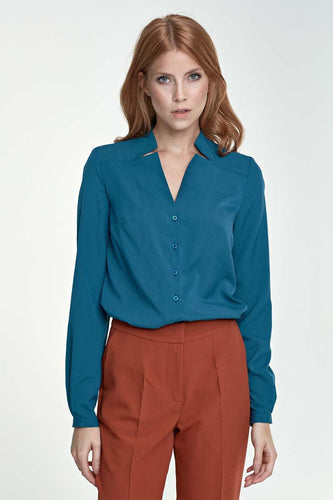Azure Nife Button Up Blouse
