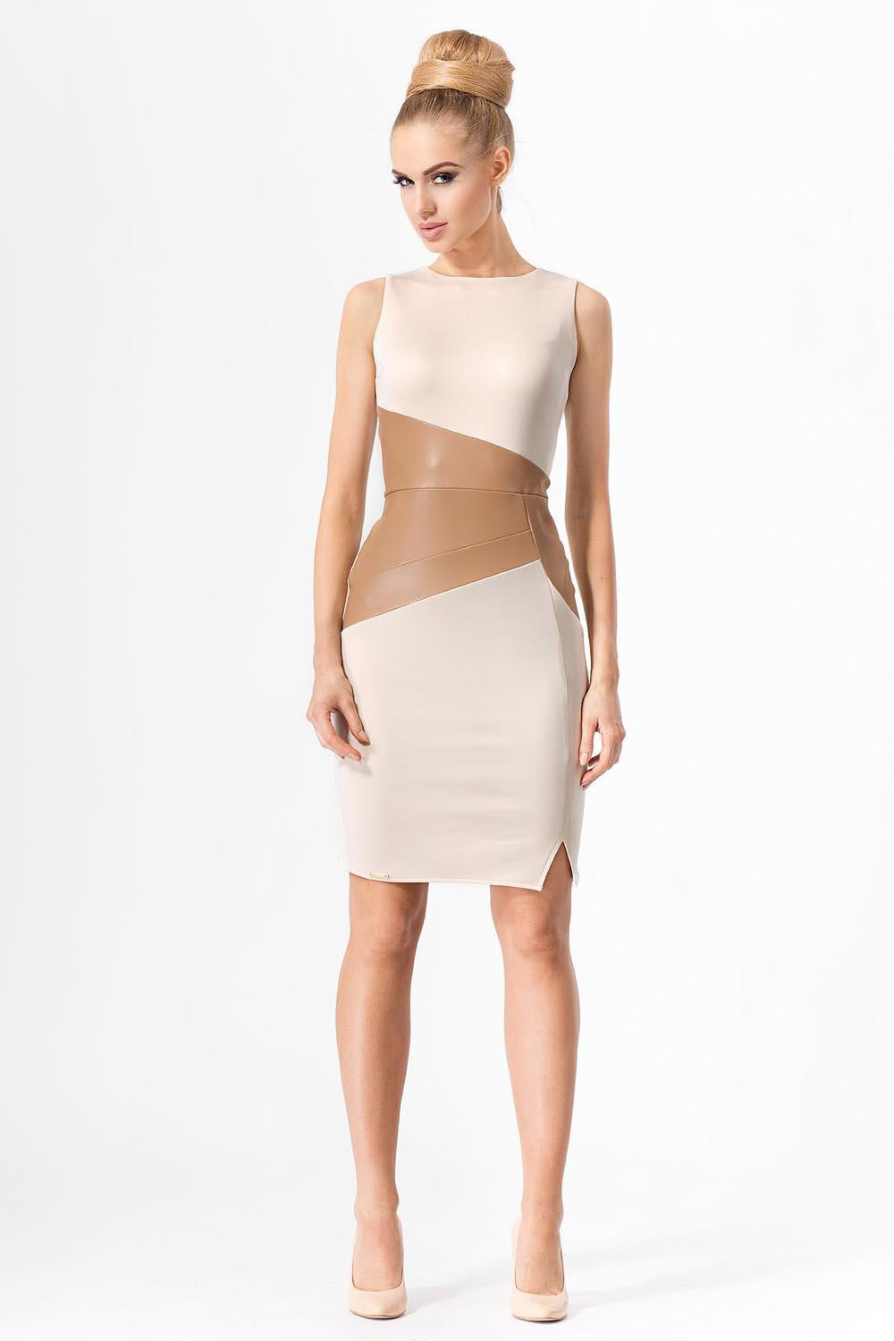 Nude Leather Panel Midi Dress