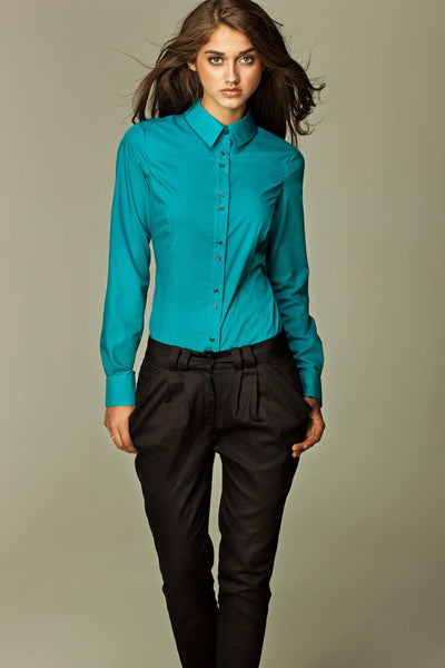 Azure Fitted Button Up Blouse