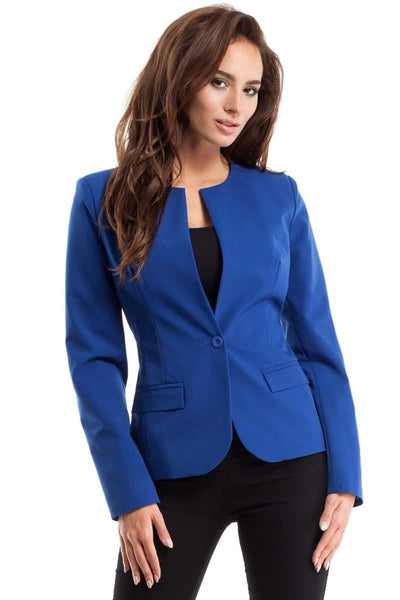 Blue One Button Collarless Blazer