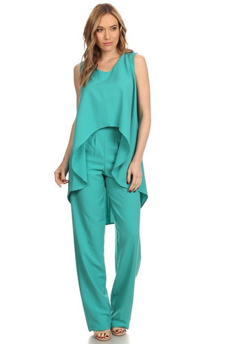 Relaxed Sleeveless Hi Low Top and Pants Set