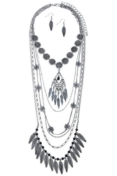 Intricate Feather Fringe Layered Necklace