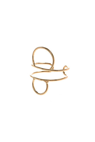Circle Outline Cuff Ring - Gold