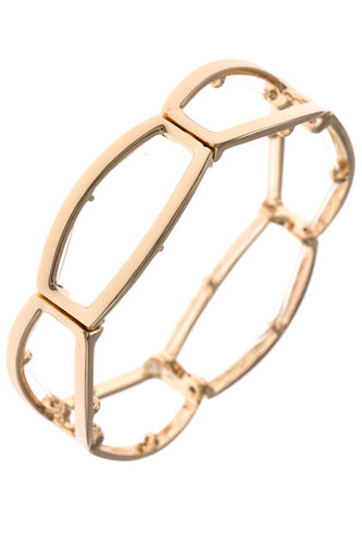 Angular Cutout Stretch Bracelet - Gold