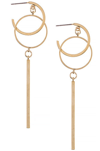 Bar Pendant Linked Hoop Earrings - Gold