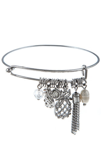 Crystal Pineapple Charm Fresh Water Pearl Bracelet - Silver