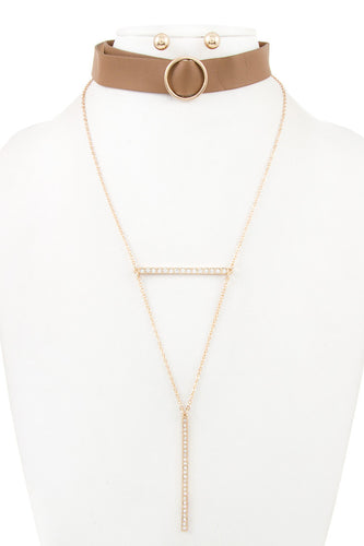 Detachable Mix Chain And Faux Leather Choker - Brown