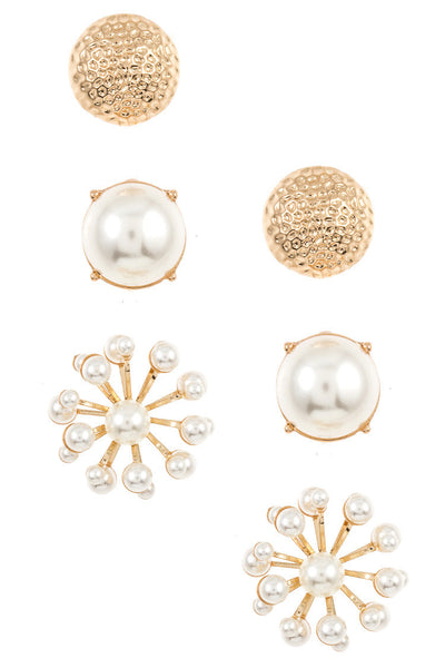 Round and Floral Faux Pearl Post Earring Set - Gold